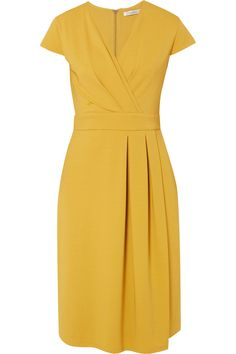 Max Mara Wrap-effect Stretch-jersey Dress - Yellow African Men Fashion, African Dresses For Women, African Fashion Dresses, African Wear, African Women, Kitenge, Short Dresses, Dresses For Work, Dresses With Sleeves