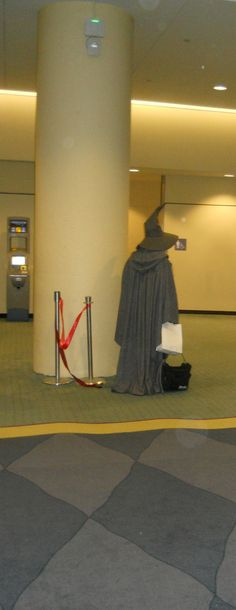 Gandalf waiting for the Dwarves to return ... from the bathroom. At Toronto ComiCon 2013 with Gandalf.