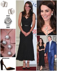 katiemiddleton on Instagram: Duchess of Cambridge in a black Alexander McQueen lace 3/4-length gown accessorized with Gianvitto Rossi heels and Balenciaga pearl earrings, necklace and ring