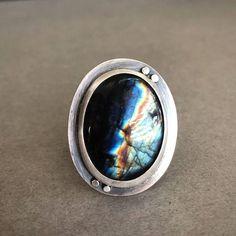 Labradorite & Oxidized Sterling Silver Lightning Cocktail Ring