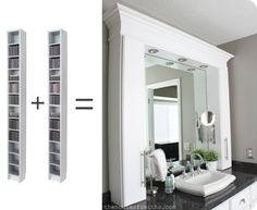 CD Cabinets Turned Bathroom Countertop Storage. I love the look of this - I just wonder what you would put in all of those little cubby holes???