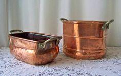 Vintage Copper Decorative Pots Primitive Vessel by cynthiasattic, $199.00
