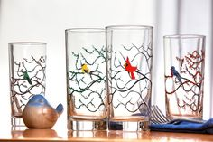 Four Seasons Bird Glasses - 4 Everyday Water Glasses, The Four Seasons, Bird Glasses, Cardinal, Blue Broken Glass Art, Sea Glass Art, Stained Glass Art, Fused Glass, Shattered Glass, Water Glass, Yellow Finch, Everyday Glasses, Glass Art Design