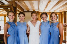 Bridesmaids in Blue Warehouse High Street Dresses  Rustic Wedding   Images by John Hope Photography   http://www.rockmywedding.co.uk/jess-adrian/