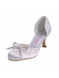 Satin Upper Round Toes Mid Heel Wedding Shoes with Bowknot - GBP £53.20