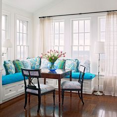 House of Turquoise: Beach,Coastal living,Seaside home decor Dining Room Storage, Dining Room Hutch, Dining Nook, Dining Chairs, Nook Table, Dining Bench, House Of Turquoise, Turquoise Room, Turquoise Cushions