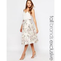 True Decadence Tall Floral Jacquard Midi Skirt (£39) ❤ liked on Polyvore featuring skirts, multi, floral print skirt, calf length skirts, high waisted floral skirt, white skirt and high waisted midi skirt