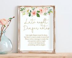 Late Night Diapers Notes Sign Cards Diaper Thoughts Sign | Etsy Late Night Diapers, Gold Calligraphy, Everything Will Be Alright, Baby Shower Signs, Blush Roses, Line Design, Late Nights, Watercolor Flowers, Notes