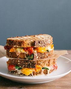 Get colorful with this roasted tomato and basil grilled cheese.