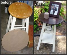 DIY Projects Don't throw that old stool out! Make it into a table instead. DIY TutorialDon't throw that old stool out! Make it into a table instead. Furniture Projects, Furniture Makeover, Home Projects, Diy Furniture, Stool Makeover, Furniture Cleaning, Furniture Refinishing, Furniture Stores, Bedroom Furniture