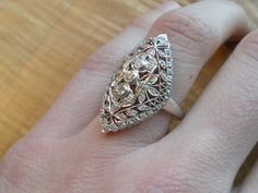 Diamond Engagement Ring Vintage 18k White Gold by GrowGallery, $998.00