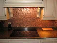Why a penny backsplash is an unique accent in the kitchen interior?