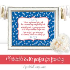 Birthday Guest Book Sign  July 4th Red White by SprinkledDesign
