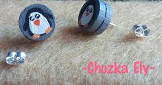 Broqueles de pingüino  Hechos de batería y pintados a mano.