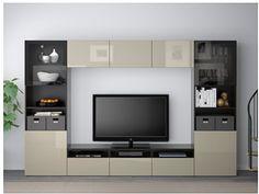 mueble BESTÅ de IKEA en negro y beige.