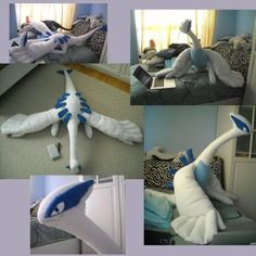Giant Lugia Plush by Sareii on DeviantArt Pokemon Craft, Pokemon Plush, All Pokemon, Pokemon Lapras, Pokemon Stuff, Lugia, Sewing Stuffed Animals, Stuffed Animal Patterns, Pokemon Merchandise