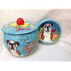 "Bulldog 10"" Ceramic Dog Bowl for Food or Water and Treat Jar. Personalized at no Charge. Signed by Artist, Debby Carman."