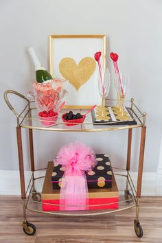 Pink champagne bar cart  Fairy Godmother a Wedding and Event Company - Valentines Day Photoshoot