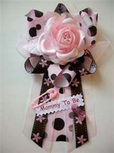 Baby Shower Corsage   Girl   Pink And Brown Themed   Pink Rose