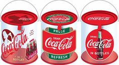 Coca-Cola Clear Paint Can w/Handle Set of 3 NEW