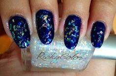 Nails of the week: blue with holographic glitter flakes