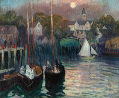 """""""Moonlight Over Smith's Cove, East Gloucester,"""" Richard Hayley Lever, ca. 1920, oil on canvas, 20 x 24"""", private collection."""