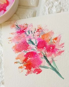 Just having fun! Painted this filler using a bath sponge haha😂 But I think it also looks like a tree 😅 Try this out too!😍 Thinking of my… Watercolor Drawing, Floral Watercolor, Watercolor Paintings, Watercolor Ideas, Watercolours, Watercolor Flowers Tutorial, Watercolour Tutorials, Beginning Watercolor, Natural Form Art