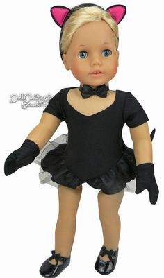 Black Cat Costume for American Girl Doll Clothes 5 Piece Jazz Outfit Halloween