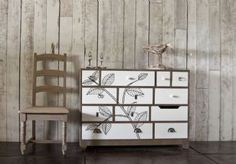 Back To Nature Leaf Print White Painted Twelve Drawer Large Chest Of Drawers