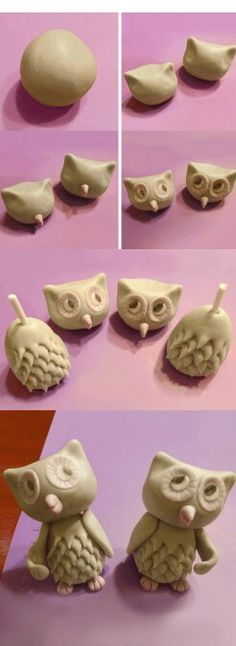 Fondant Owl - You could do this with clay too! Polymer Clay Figures, Polymer Clay Animals, Fondant Figures, Fimo Clay, Polymer Clay Projects, Polymer Clay Art, Ceramic Clay, Clay Crafts, Polymer Characters