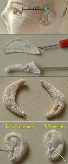 Как сформировать ушко у текстильной куклы.. | скульптурный текстиль | Постила