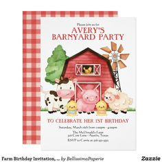Rooster Cow Barnyard Farm Animals 1st Birthday Invitation Pig Kraft Paper Made to order Red Personalized Custom