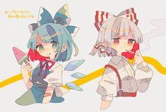Cirno - Fujiwara no Mokou Character Creation, Character Art, Character Design, Art Inspiration Drawing, Art Inspo, Beautiful Drawings, Cute Drawings, Cartoon Styles, Cartoon Art