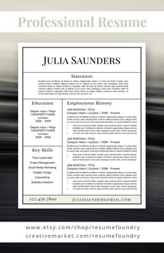 Classic Resume Template For Word, 1 3 Page Resume + Cover Letter +  Reference Page | US Letter | INSTANT DOWNLOAD | Julia