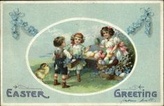 Easter Children w Colored Eggs Unsigned Clapsaddle c1910 Postcard | eBay