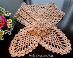 free crochet neck warmer patterns | ... ROSE CROCHET /: Golinha de Abacaxi - Pineapple Neck Warmer Pattern