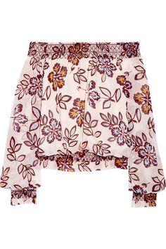 Tory Burch - Indie Off-the-shoulder Printed Silk-georgette Top - Ivory