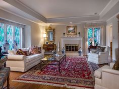 Living Room - Formal Living Room - Oriental Rug - Leaded Glass - White - Silicon Valley Real Estate