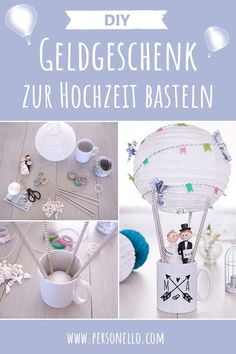 Du willst mit deinem Braut und Bräutigam zum Staunen bringen… You want with yours Bring the bride and groom to wonder and give them a little holiday pay for the honeymoon? With the money gift hot air balloon… Continue reading → Homemade Wedding Gifts, Wedding Gifts For Bride, The Bride, Bride Gifts, Wedding Favors, Bride Groom, Surprise Wedding, Diy Gifts For Friends, Diy Gifts For Kids