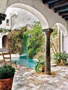 Courtyard with water pool,  European inspired