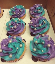 34+ trendy wedding cakes turquoise and purple beautiful Little Mermaid Birthday, Little Mermaid Parties, Little Mermaid Cupcakes, Teal Cupcakes, Mermaid Cupcake Cake, Party Cupcakes, Mermaid Baby Showers, Baby Shower Mermaid Theme, Girl Shower