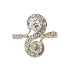edwardian diamond ring antique white gold ring gold platinum ring antique engagement ring toi et moi ring