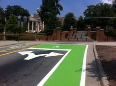 Beautiful new bike box and protected bike lane on UGA's campus in Athens
