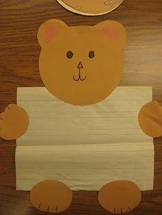 The students will make these and write a short story about bears on the piece of paper the bear is holding. By the end of class, students will be able to explain an made up story that they have created with assistance from the teacher if needed. Kindergarten Writing, Kindergarten Classroom, Writing Activities, Literacy, Kids Writing, Writing Paper, Teddy Bear Crafts, Teddy Bear Day, Teddy Bears