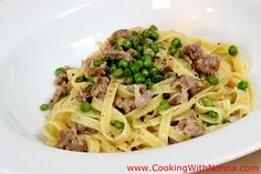 Fettuccine with Sausage, Mascarpone & Peas.  Cooking with Nonna