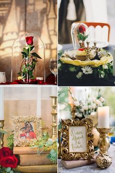 34 Magical Ideas For a Beauty and the Beast Wedding The highly anticipated, live-action remake of Beauty and the Beast is released in theatres! Beauty And The Beast Wedding Theme, Beauty And Beast Birthday, Wedding Beauty, Dream Wedding, Magical Wedding, Diy Beauty And The Beast Decorations, Sweet 16 Centerpieces, Wedding Centerpieces, Wedding Decorations