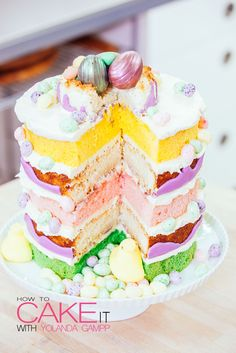 I took my favourite family coconut macaroon recipe and baked it in cake pans instead of little cookie clusters! Now add layers of lavender infused vanilla cake, honey buttercream, and Easter candies! #Baking #Dessert