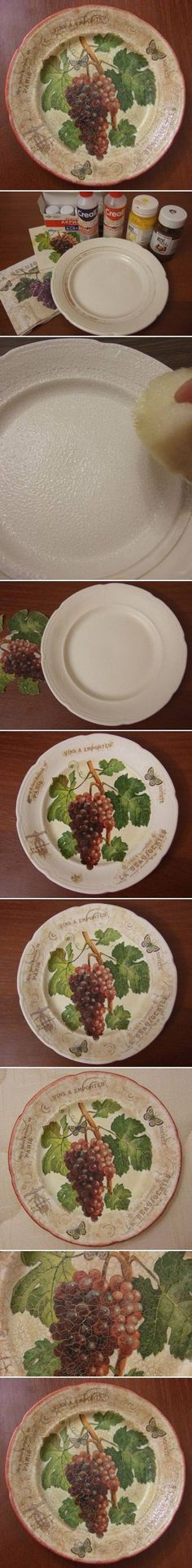 DIY Old Plate Decoupage // ♡ BEAUTIFUL JOB! LOVE THE WAY THEY DID THE RIM, AND THE CRACKLING WAS A PERFECT WAY TO FINISH IT! ♥A