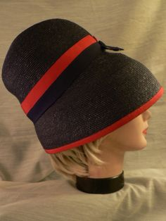 Vintage LILLY DACHE 1940's 50s NAVY RED Millinery Woven HAT Cap - Gorgeous!