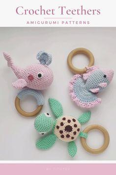 Crochet Baby Toys, Crochet Patterns Amigurumi, Crochet For Kids, Crochet Animals, Crochet Dolls, Baby Knitting, Turtle Pattern, Baby Rattle, Crochet Hook Sizes